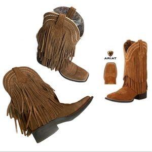 Ariat powder brown suede fringe cowboy boot sz 6.5